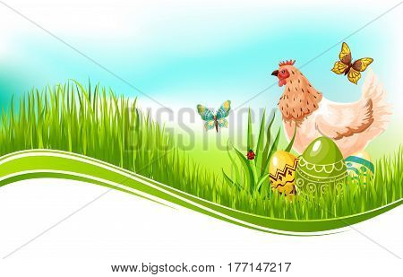Easter template of paschal eggs and chicken hen in spring grass meadow and butterflies in blue sky. Vector Easter greeting card design for Resurrection Sunday religion holiday
