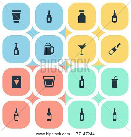 Vector Illustration Set Of Simple Drinks Icons. Elements Vial, Cognac, Champagne And Other Synonyms Whiskey, Plastic And Martini.