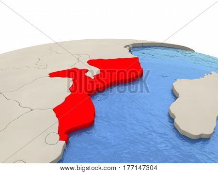 Mozambique On Globe With Watery Seas