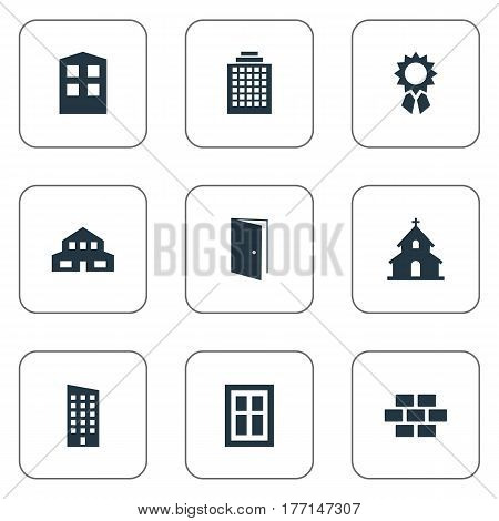Vector Illustration Set Of Simple Construction Icons. Elements Floor, Gate, Offices And Other Synonyms Brick, Wall And Shanty.