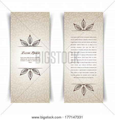 Beige calligraphic decorative elements. Graphic elements mimic leaves. Retro style design Collection invitations, banners, posters, banners, icons and logos.