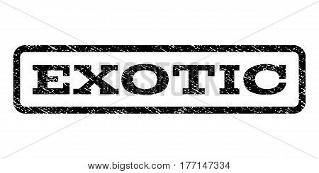 Exotic watermark stamp. Text tag inside rounded rectangle frame with grunge design style. Rubber seal stamp with dirty texture. Vector black ink imprint on a white background.