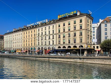 Geneva, Switzerland - 24 September, 2016: the Rhone river and buildings along it. The city of Geneva is the capital of the Swiss Canton of Geneva and the second most populous city in Switzerland.