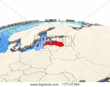 Latvia On Globe With Watery Seas
