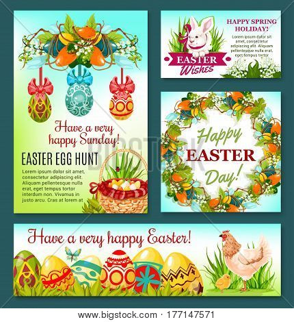 Easter Egg Hunt rabbit cartoon banner template. Easter eggs in green grass with bunny, chicken, egg hunt basket and chick, spring flower wreath of lily and tulip with ribbon bow. Easter holiday design