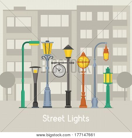 Banner with street lamps and park lanterns concept illustration. Different lamposts, lamp poles and city lightings on modern city background.