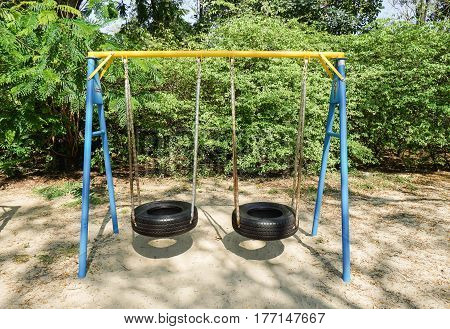 swing made of wheel at outdoor playground