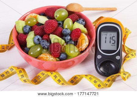 Fresh Fruit Salad, Glucose Meter And Centimeter, Diabetes, Healthy Lifestyle And Nutrition Concept