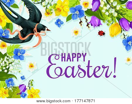 Easter spring flower and bird greeting card. Blooming flowers of lily, tulip, narcissus and forget-me-not with flying swallow bird, decorated by ribbon bow cartoon poster for Easter celebration design