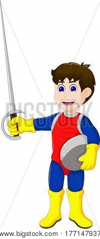 cute knight cartoon holding sword for you design