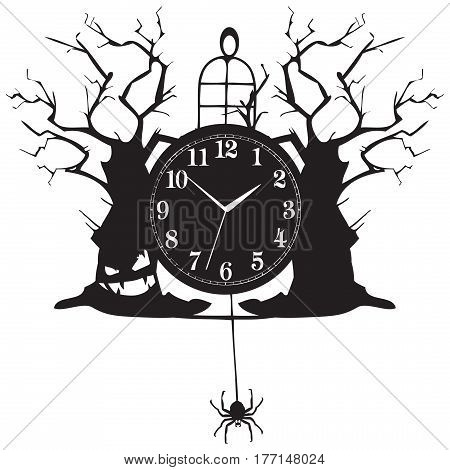 Vintage clock for Halloween holiday items and accessories on the clock.