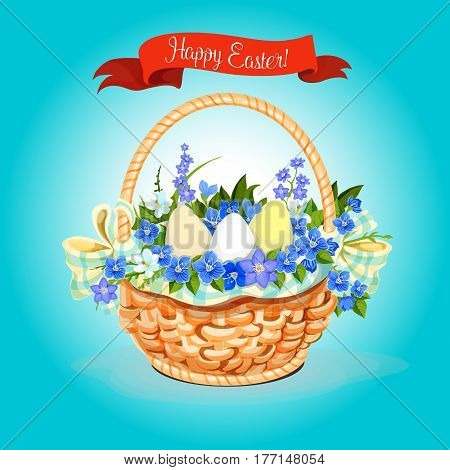 Happy Easter greeting card of paschal eggs and springtime flowers wicker basket with bunch of tulips, snowdrops and lily of valley. Vector Easter poster for Resurrection Sunday religion spring holiday