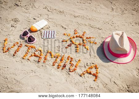 Medical Pills, Inscription Vitamin A And Accessories For Sunbathing On Sand At Beach, Healthy, Beaut