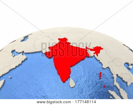 India On Globe With Watery Seas