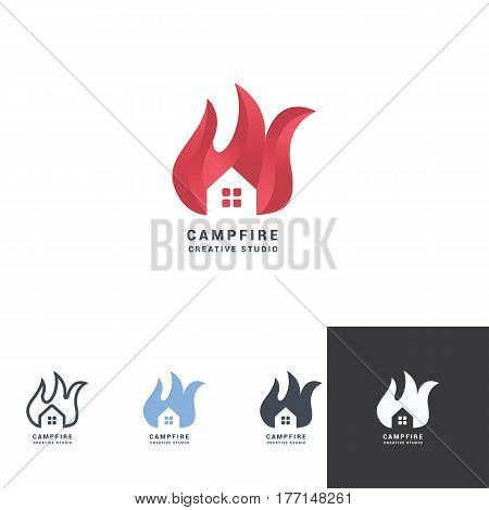 flammed house negative space logo design with red fancy color