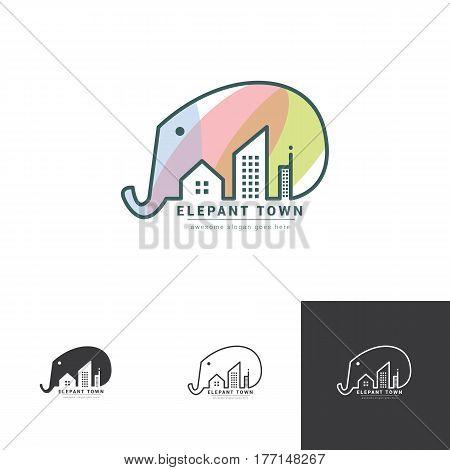 elepant negative space logo with city landscape