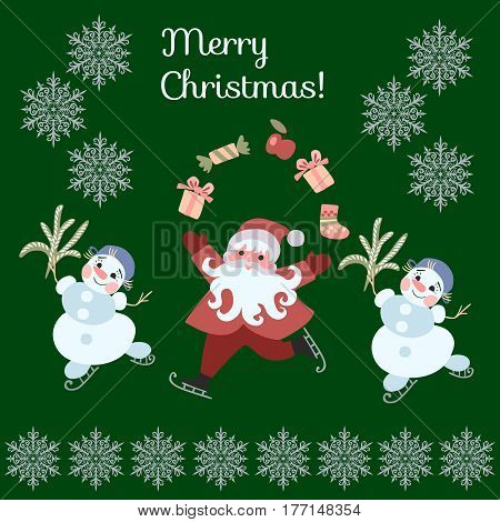 Greeting Card Merry Christmas! Cute cartoon Santa Claus juggling gifts and dancing snowmen on skates. Vector illustration with silver snowflakes on dark green background.