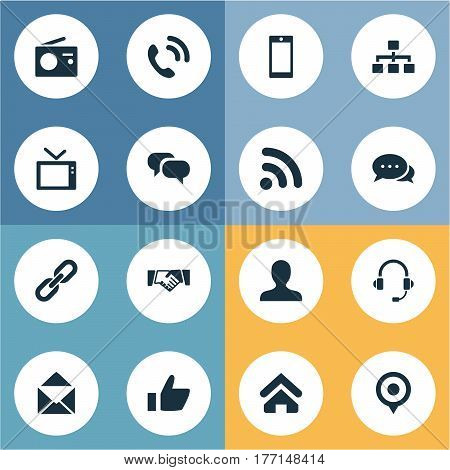 Vector Illustration Set Of Simple Social Icons. Elements Conversation, Handset, Pin Synonyms Letter, Vote And Home.