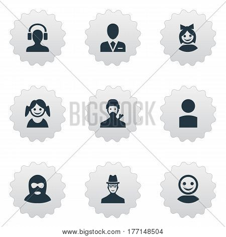 Vector Illustration Set Of Simple Avatar Icons. Elements Mysterious Man, Girl Face, Insider And Other Synonyms Little, Spy And Culprit.