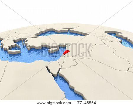 Lebanon On Globe With Watery Seas
