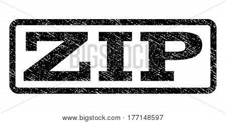 Zip watermark stamp. Text caption inside rounded rectangle with grunge design style. Rubber seal stamp with unclean texture. Vector black ink imprint on a white background.