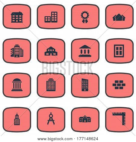 Vector Illustration Set Of Simple Architecture Icons. Elements Length, Booth, Structure And Other Synonyms Construction, Apartment And Offices.