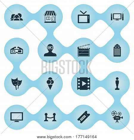 Vector Illustration Set Of Simple Cinema Icons. Elements Rope Barrier, Family, Structure And Other Synonyms Design, Reward And Building.