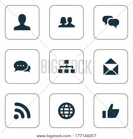 Vector Illustration Set Of Simple Social Icons. Elements Talking, Thumb, Conversation And Other Synonyms World, Talking And Companion.