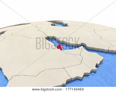 Qatar On Globe With Watery Seas