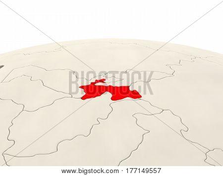 Tajikistan On Globe With Watery Seas
