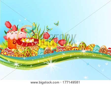 Easter egg hunt floral banner with copy space. Easter egg on grass with flowers of tulip and narcissus, Easter cake, egg hunt basket and butterfly. Easter spring holidays cartoon greeting card design