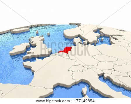 Netherlands On Globe With Watery Seas