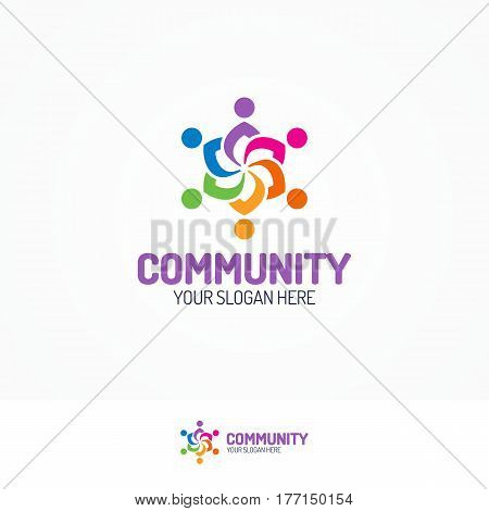 Support community logo consisting as silhouette team people different color for use partnership, communication, teamwork, social logo, and family logo. Vector Illustration