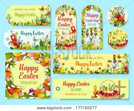Easter holiday symbols tag and greeting poster set. Easter egg and flower wreath, rabbit bunny, egg hunt basket, Easter crucifix cross with chicken, lily, tulip, narcissus flower, candle, willow twig