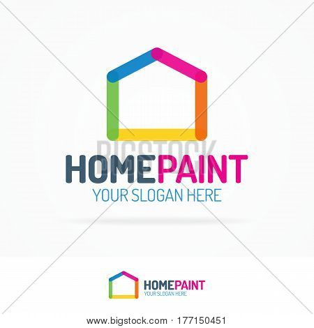 Home paint logo set flat style consisting as line different color for use real estate, design, architect, construction, house repair, building etc. Vector Illustration