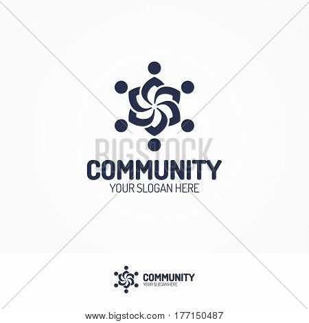 Support community logo consisting as silhouette team people black color for use partnership, communication, teamwork, social logo, and family logo. Vector Illustration