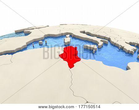 Tunisia On Globe With Watery Seas