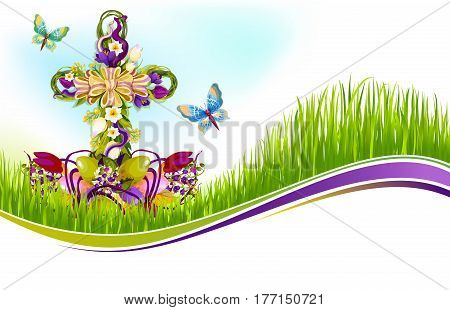 Happy Easter greeting card template with paschal eggs, crucifix cross decorated by floral wreath bow of spring flowers and butterflies. Vector design for Easter or Resurrection Sunday religion holiday