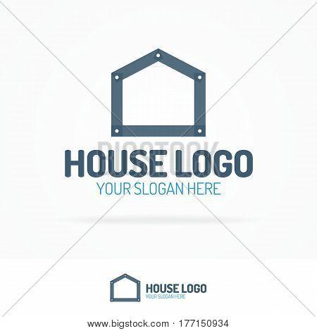 House logo set flat style dark color for use home repair, building, real estate, design, architect etc. Vector Illustration