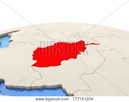 Afghanistan On Globe With Watery Seas
