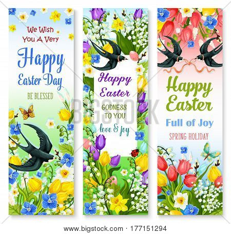 Happy Easter holidays floral banner set. Easter egg with spring flower of lily, tulip, narcissus and forget-me-not, willow tree twig and swallow bird with ribbon bow. Easter greeting card design