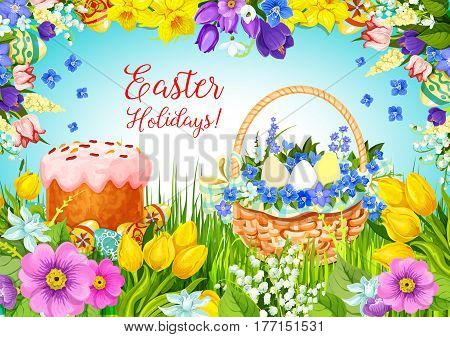 Happy Easter greeting card paschal hunt eggs, cake and flowers bunch of crocuses, daffodils and spring tulips in wicker basket Vector design template for Easter or Resurrection Sunday religion holiday