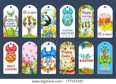 Easter Egg Hunt tag set. Easter egg in grass with rabbit bunny, spring flowers, cake, chicken chick, basket, floral wreath with ribbon, Easter cross, butterfly, swallow bird, willow twig cartoon label