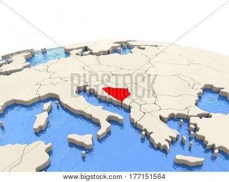 Bosnia On Globe With Watery Seas