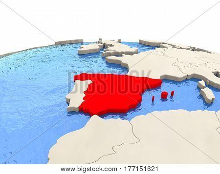Spain On Globe With Watery Seas