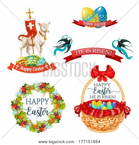 Easter paschal icons of eggs in wicker basket, flower wreath bow, bunny or passover God lamb crucifix or holy cross flag and swallows with ribbons. Happy Easter religion holiday vector symbols set