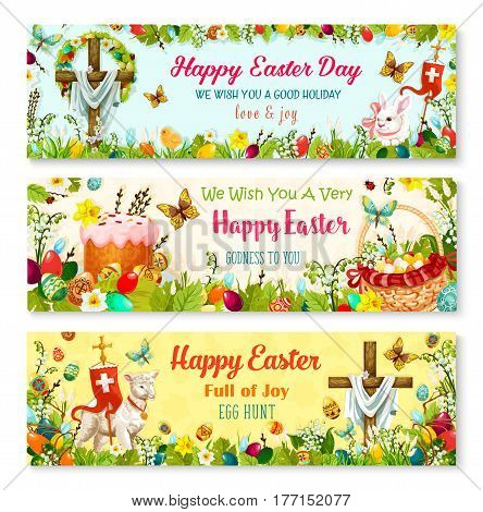 Happy Easter wishes banner set with holiday symbols. Easter egg in basket with spring flower, rabbit bunny, chicken chick, Easter cake, crucifix cross, floral wreath and lamb of God in flower frame