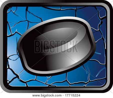 hockey puck blue cracked web button