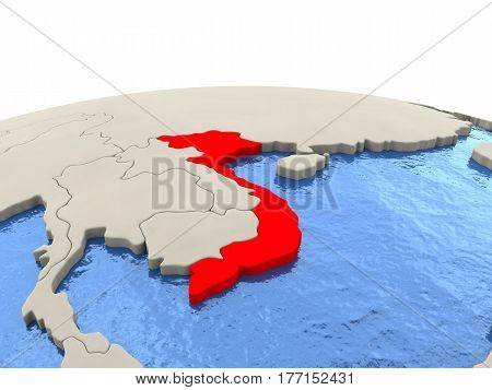 Vietnam On Globe With Watery Seas