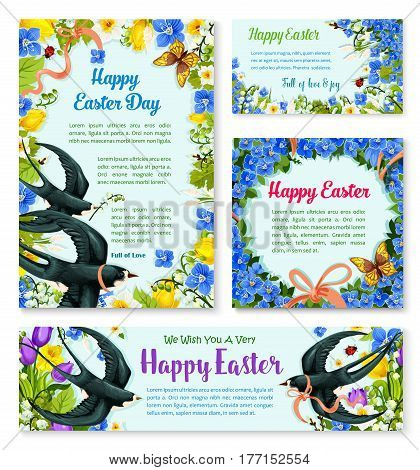 Easter Day spring birds with flower banner template. Easter greeting card and poster, adorned by floral frame of tulip, lily, narcissus and forget-me-not flowers with flying swallow and butterfly